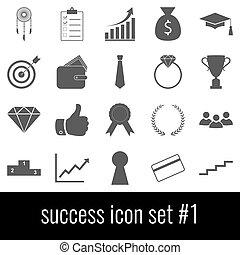 cinzento, jogo, success., ícones, experiência., branca, 1., ícone