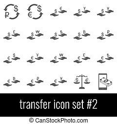 cinzento, jogo, transfer., ícones, experiência., 2., branca, ícone
