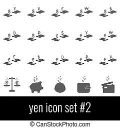 cinzento, jogo, yen., ícones, experiência., 2., branca, ícone