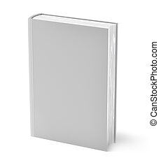 cinzento, livro, isolado, branco