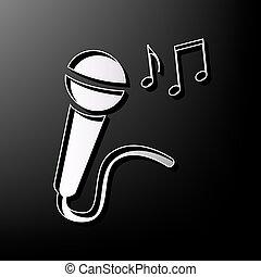 cinzento, microfone, notas., sinal, experiência., música, impresso, vector., pretas, 3d, ícone