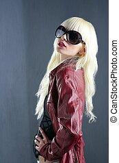 cinzento, moda, fundo, lábios, loura, retrato, menina, vermelho