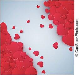 cinzento, modelo, festivo, valentine, texto, Dia, vetorial, lugar, fundo, corações, postais, vermelho