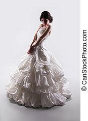 cinzento, mulher, beleza, magnífico, isolado, noiva, moda, estúdio, fundo, vestido casamento
