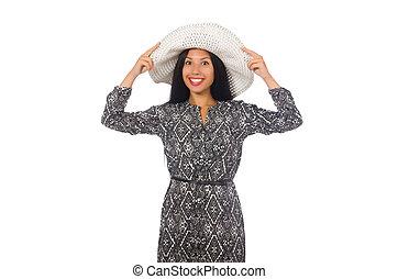 cinzento, mulher, isolado, cabelo longo, pretas, vestido branco