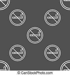cinzento, não, padrão, sinal., seamless, experiência., vetorial, fumar, ícone