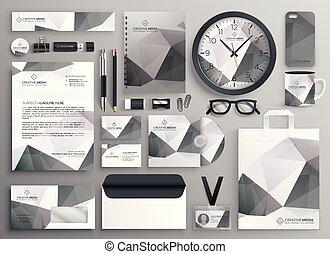 cinzento, negócio, abstratos, cobrança, modelo, papelaria