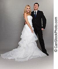 cinzento, noivo, par, casado, noiva, fundo, feliz