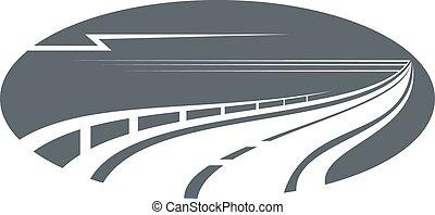 cinzento, ou, rodovia, caminho, estrada, ícone