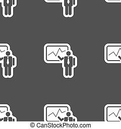 cinzento, padrão, sinal., seamless, experiência., vetorial, homem negócios, relatório, fazer, ícone