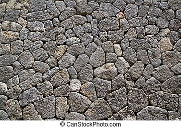 cinzento, pedra calcária, alvenaria, parede, típico, de,...