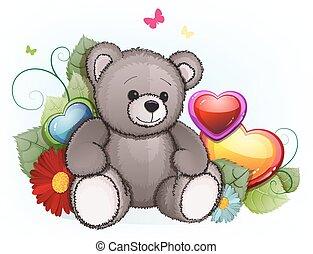 cinzento, pelúcia,  valentines, urso, corações, Dia