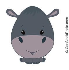 cinzento, pequeno, behemoth, cabeça grande, alegre