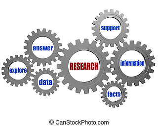cinzento, pesquisa, engrenagens, palavras, conceitual, prata