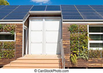 cinzento, planta, parede, casa, modernos, água, solar, painéis