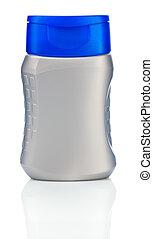 cinzento, plastical, garrafa, isolado