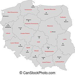 cinzento, polônia, mapa
