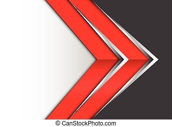 cinzento, projeto abstrato, seta, branca, prata, vermelho