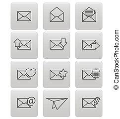 cinzento, quadrados, envelope, email, ícones