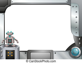 cinzento, quadro, robô, metálico