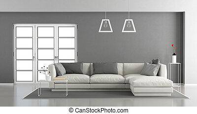 cinzento, quarto branco, vivendo