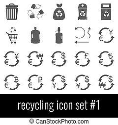 cinzento, recycling., jogo, ícones, experiência., branca, 1., ícone