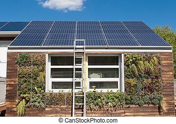 cinzento, reparar, escada, sistema, água, solar, sob, lar