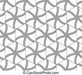 cinzento, repetindo, ornamento, linhas, hexágonos