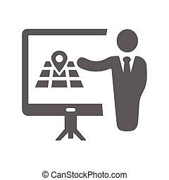 cinzento, reunião, apresentação, conferência negócio, localização, treinamento, ícone