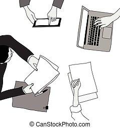cinzento, reunião, desenho, negócio