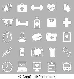 cinzento, saúde, fundo, ícones