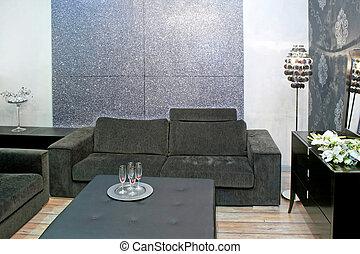 cinzento, sala de estar