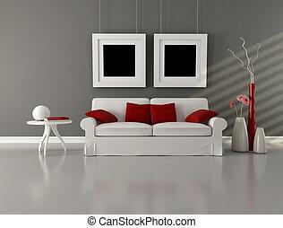 cinzento, sala, minimalista, vivendo, branco vermelho