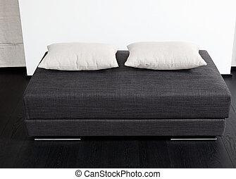 cinzento, sala, sentando, modernos, tamborete, detalhe, acolchoado, interior, pretas, escuro, branca, travesseiro
