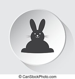 cinzento, simples, botão, -, coelho, sorrindo, branca, ícone