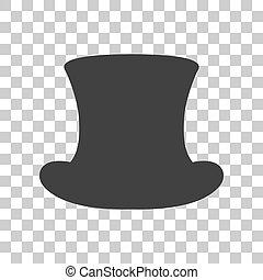 cinzento, sinal., topo, escuro, experiência., chapéu, transparente, ícone