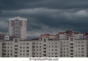 cinzento, sobre, nuvens, paisagem, urbano
