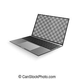 cinzento, sombra, laptop, branca, isolado, ilustração, experiência., vetorial, desenho, pretas, keyboard., exposição