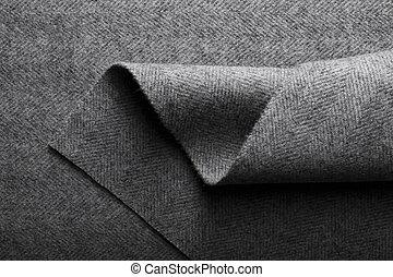 cinzento, tecido, herringbone, têxtil, experiência., tecido lã, lã