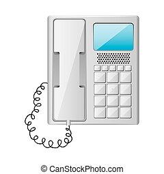 cinzento, telefone escritório, com, wired