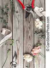 cinzento, tools., jardim, madeira, trabalho, acessórios, experiência., floricultor, tabela, flores