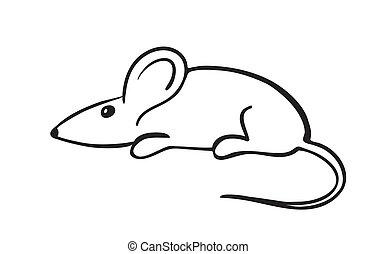 cinzento, vetorial, ilustração, rato