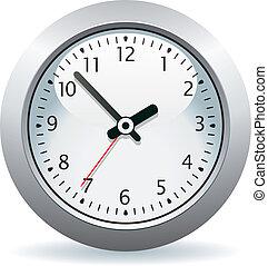 cinzento, vetorial, relógio
