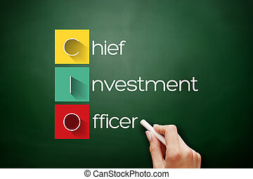 CIO - Chief Investment Officer acronym, business concept background on blackboard
