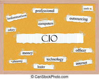CIO Corkboard Word Concept with great terms such as information, officer, computers and more.