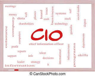 CIO Word Cloud Concept on a Dry Erase Board with great terms...