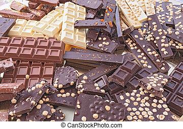 cioccolato, assortito, barre