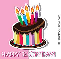 cioccolato, compleanno, vettore, torta