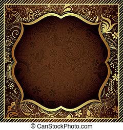 cioccolato, floreale, oro, astratto