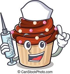 cioccolato, infermiera, cupcake, carattere, siringa, ...